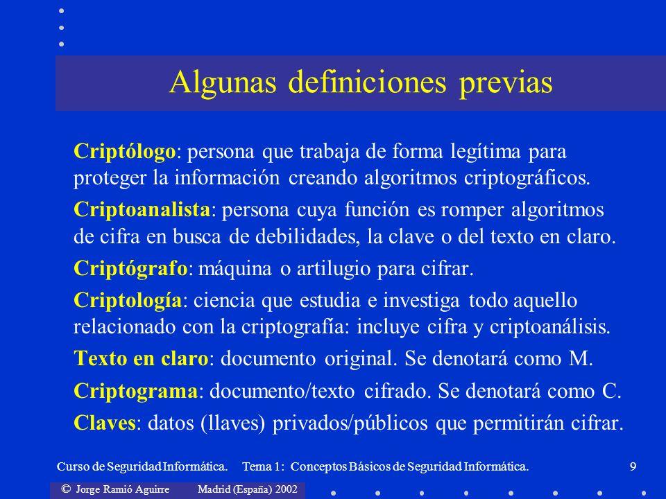 © Jorge Ramió Aguirre Madrid (España) 2002 Curso de Seguridad Informática. Tema 1: Conceptos Básicos de Seguridad Informática.9 Criptólogo: persona qu