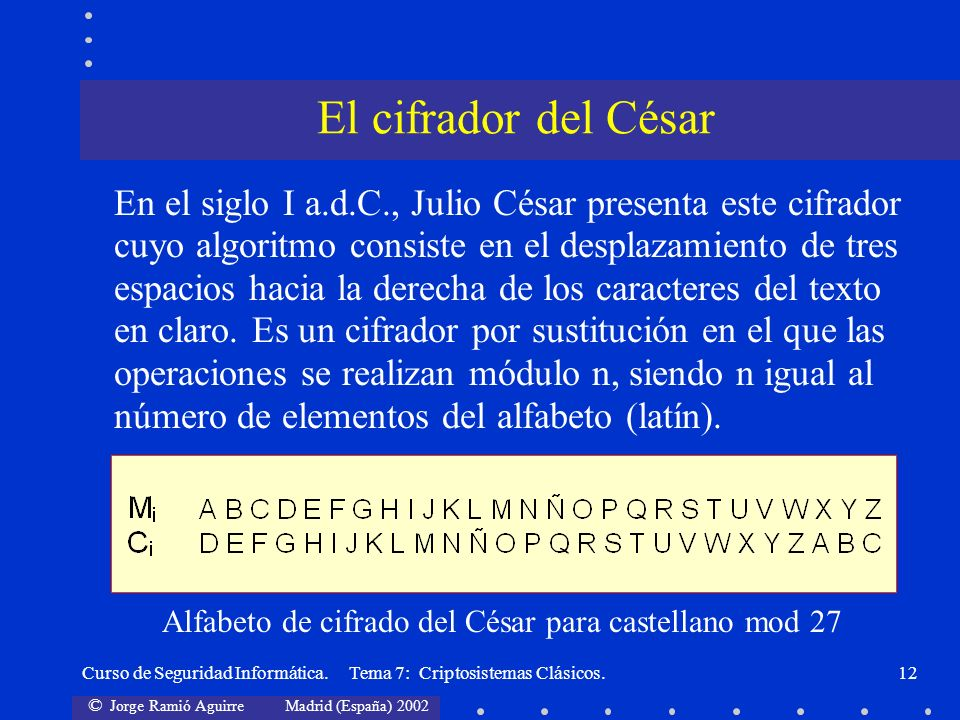 © Jorge Ramió Aguirre Madrid (España) 2002 Curso de Seguridad Informática. Tema 7: Criptosistemas Clásicos.12 En el siglo I a.d.C., Julio César presen