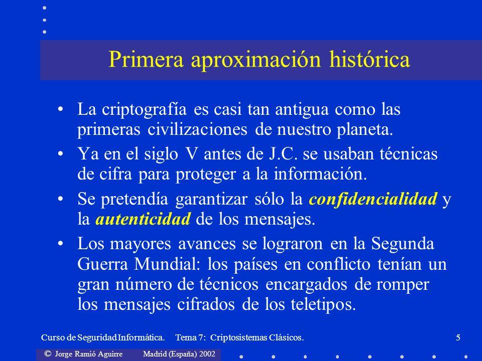 © Jorge Ramió Aguirre Madrid (España) 2002 Curso de Seguridad Informática. Tema 7: Criptosistemas Clásicos.5 La criptografía es casi tan antigua como