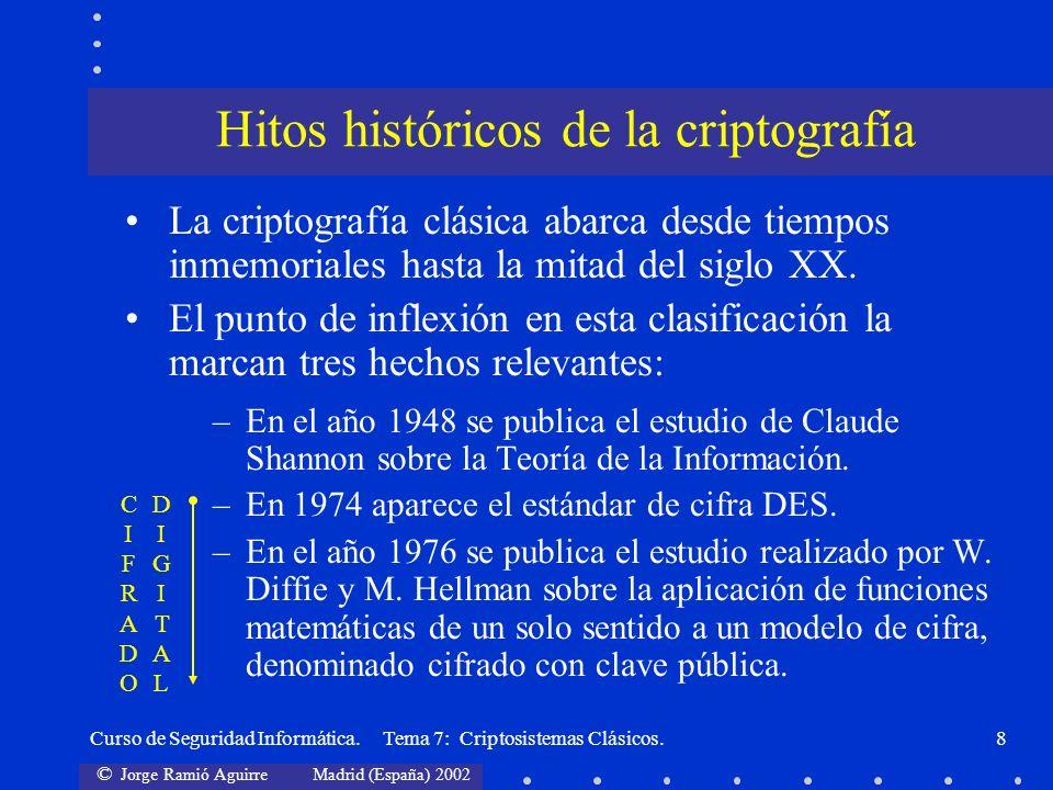 © Jorge Ramió Aguirre Madrid (España) 2002 Curso de Seguridad Informática. Tema 7: Criptosistemas Clásicos.8 La criptografía clásica abarca desde tiem