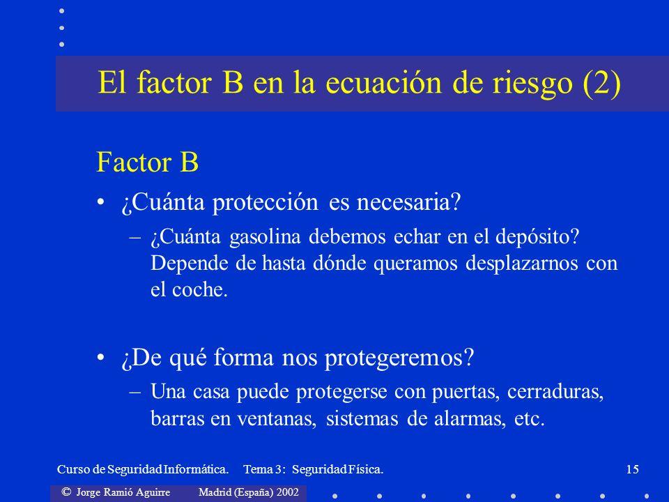 © Jorge Ramió Aguirre Madrid (España) 2002 Curso de Seguridad Informática. Tema 3: Seguridad Física.15 Factor B ¿Cuánta protección es necesaria? –¿Cuá