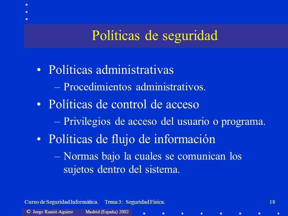 © Jorge Ramió Aguirre Madrid (España) 2002 Curso de Seguridad Informática. Tema 3: Seguridad Física.18 Políticas administrativas –Procedimientos admin