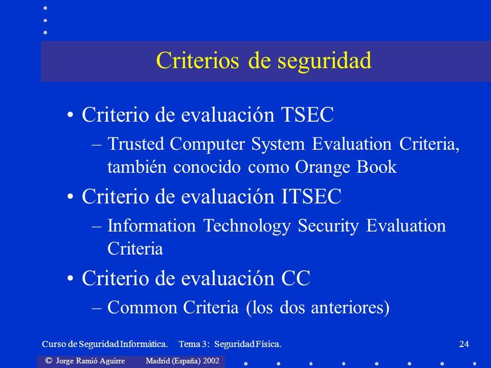 © Jorge Ramió Aguirre Madrid (España) 2002 Curso de Seguridad Informática. Tema 3: Seguridad Física.24 Criterio de evaluación TSEC –Trusted Computer S