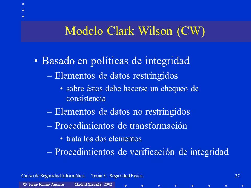 © Jorge Ramió Aguirre Madrid (España) 2002 Curso de Seguridad Informática. Tema 3: Seguridad Física.27 Basado en políticas de integridad –Elementos de