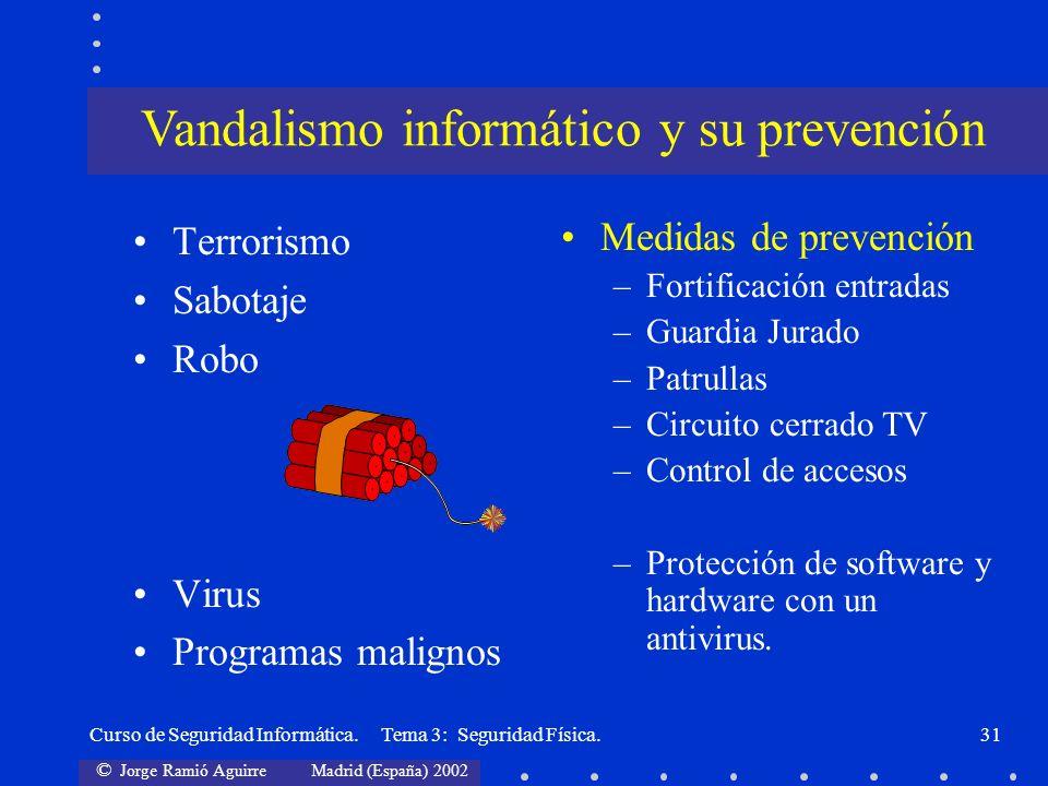 © Jorge Ramió Aguirre Madrid (España) 2002 Curso de Seguridad Informática. Tema 3: Seguridad Física.31 Terrorismo Sabotaje Robo Virus Programas malign