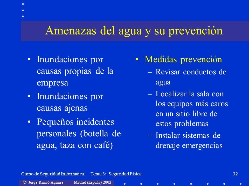 © Jorge Ramió Aguirre Madrid (España) 2002 Curso de Seguridad Informática. Tema 3: Seguridad Física.32 Inundaciones por causas propias de la empresa I