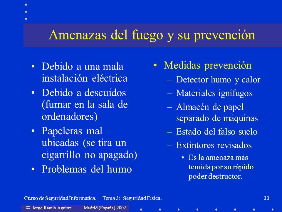 © Jorge Ramió Aguirre Madrid (España) 2002 Curso de Seguridad Informática. Tema 3: Seguridad Física.33 Debido a una mala instalación eléctrica Debido