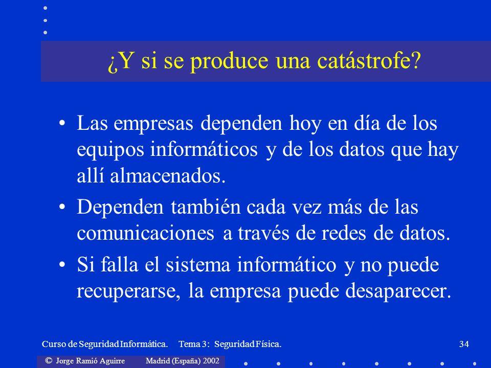 © Jorge Ramió Aguirre Madrid (España) 2002 Curso de Seguridad Informática. Tema 3: Seguridad Física.34 Las empresas dependen hoy en día de los equipos