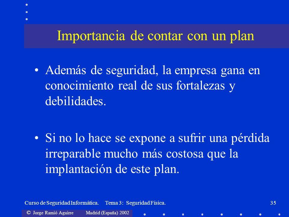 © Jorge Ramió Aguirre Madrid (España) 2002 Curso de Seguridad Informática. Tema 3: Seguridad Física.35 Además de seguridad, la empresa gana en conocim