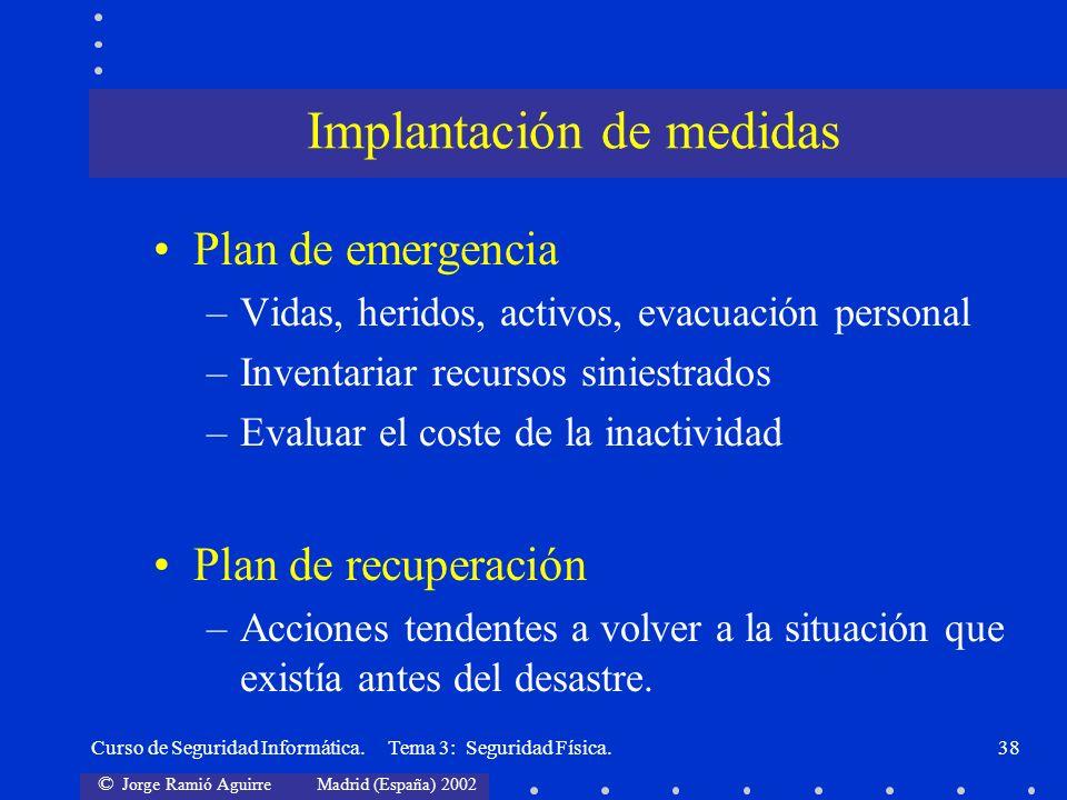 © Jorge Ramió Aguirre Madrid (España) 2002 Curso de Seguridad Informática. Tema 3: Seguridad Física.38 Plan de emergencia –Vidas, heridos, activos, ev