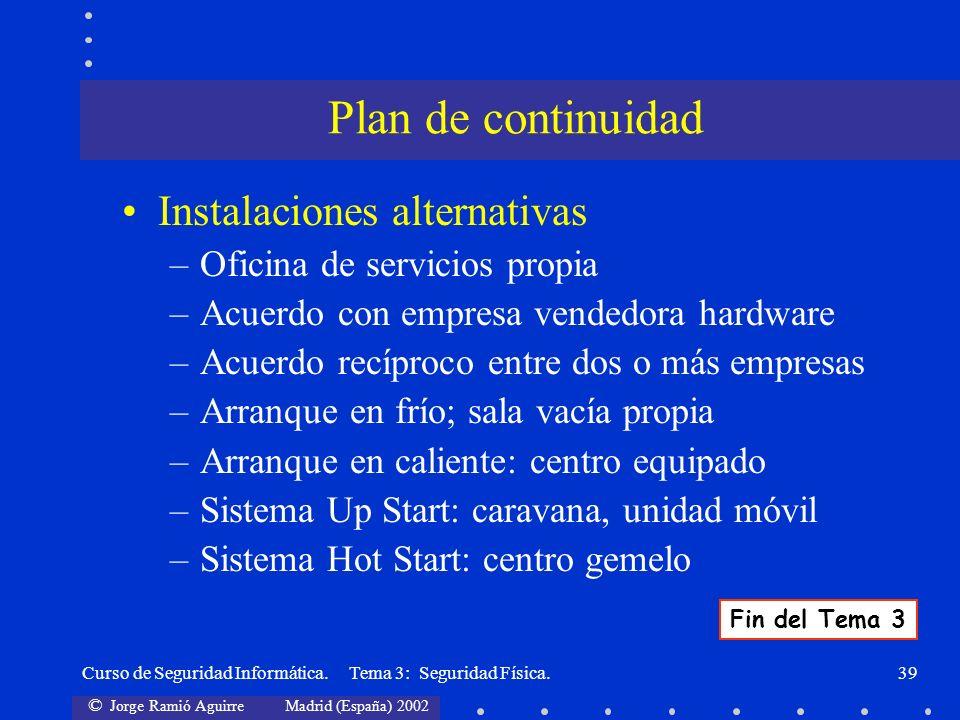 © Jorge Ramió Aguirre Madrid (España) 2002 Curso de Seguridad Informática. Tema 3: Seguridad Física.39 Instalaciones alternativas –Oficina de servicio