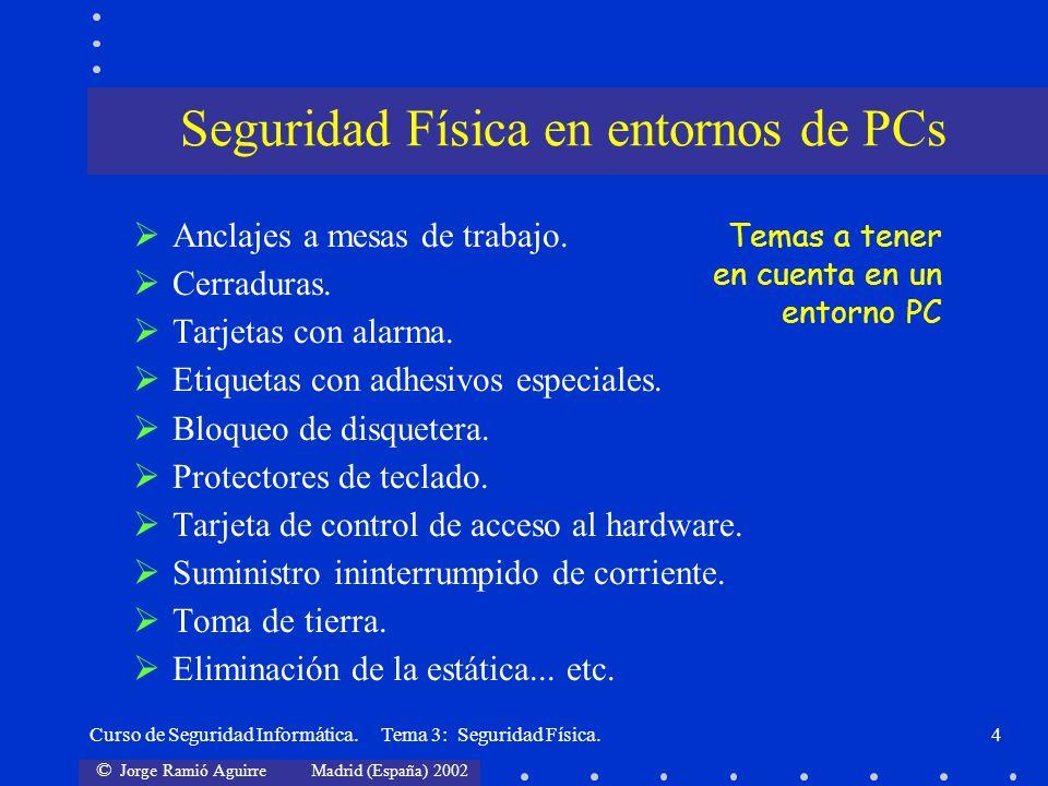 © Jorge Ramió Aguirre Madrid (España) 2002 Curso de Seguridad Informática. Tema 3: Seguridad Física.4 Anclajes a mesas de trabajo. Cerraduras. Tarjeta