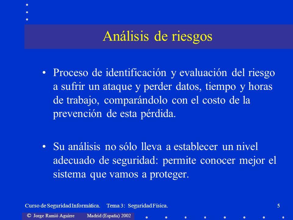 © Jorge Ramió Aguirre Madrid (España) 2002 Curso de Seguridad Informática. Tema 3: Seguridad Física.5 Proceso de identificación y evaluación del riesg