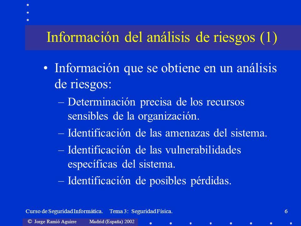 © Jorge Ramió Aguirre Madrid (España) 2002 Curso de Seguridad Informática. Tema 3: Seguridad Física.6 Información que se obtiene en un análisis de rie