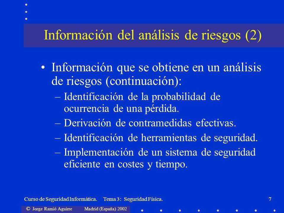 © Jorge Ramió Aguirre Madrid (España) 2002 Curso de Seguridad Informática. Tema 3: Seguridad Física.7 Información que se obtiene en un análisis de rie