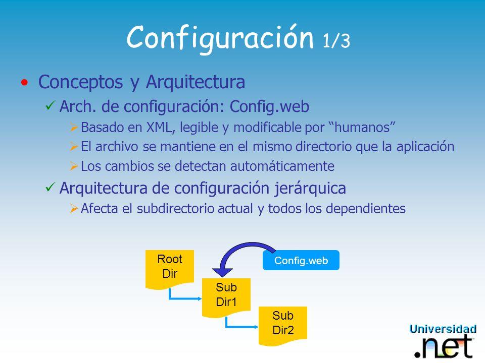 Configuración 1/3 Conceptos y Arquitectura Arch. de configuración: Config.web Basado en XML, legible y modificable por humanos El archivo se mantiene