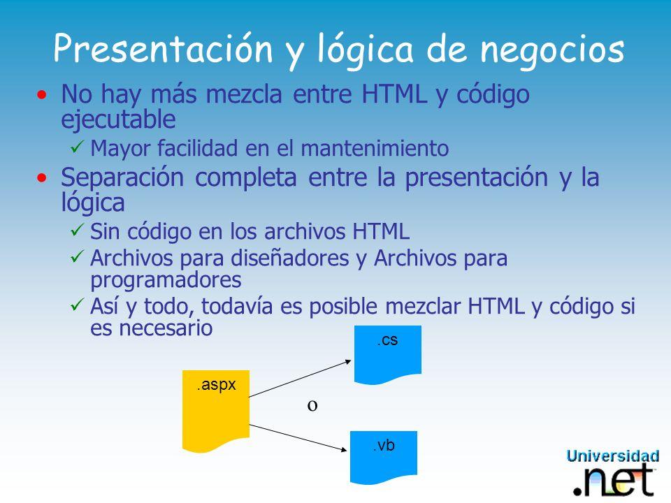 Presentación y lógica de negocios No hay más mezcla entre HTML y código ejecutable Mayor facilidad en el mantenimiento Separación completa entre la pr