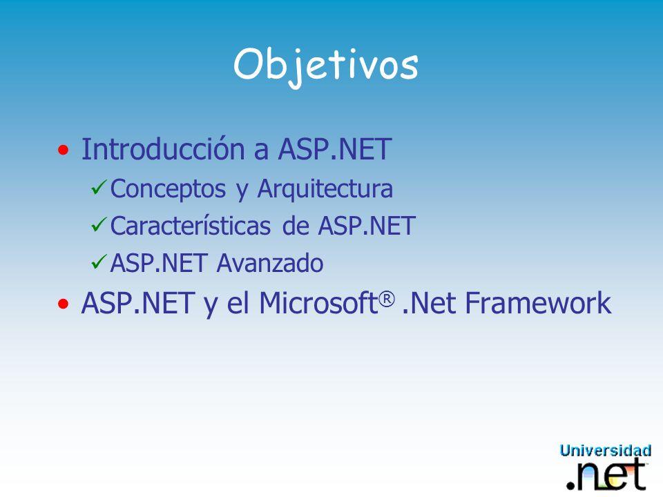 Contenido Sección 1: Generalidades Sección 2: Arquitectura El.NET Famework y la configuración de ASP.NET Sección 3: Características de ASP.NET Administración de estado, Seguridad, y Modelo de Eventos Sección 4: ASP.NET Avanzado Web Forms Trabajando con Datos Migrando ASP a ASP.NET