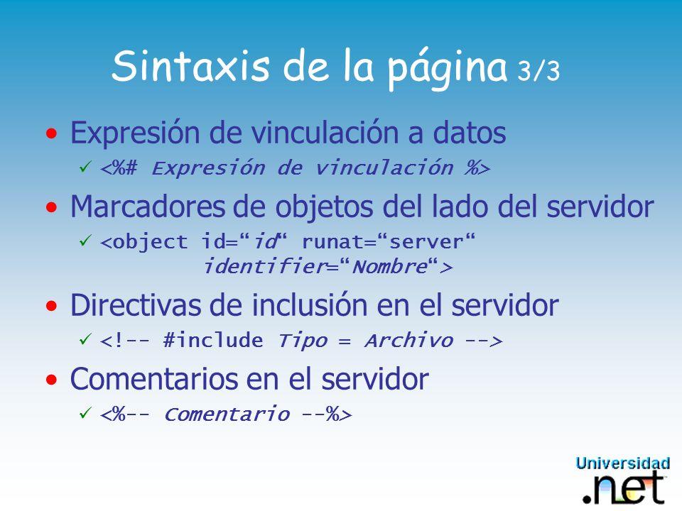 Sintaxis de la página 3/3 Expresión de vinculación a datos Marcadores de objetos del lado del servidor Directivas de inclusión en el servidor Comentar
