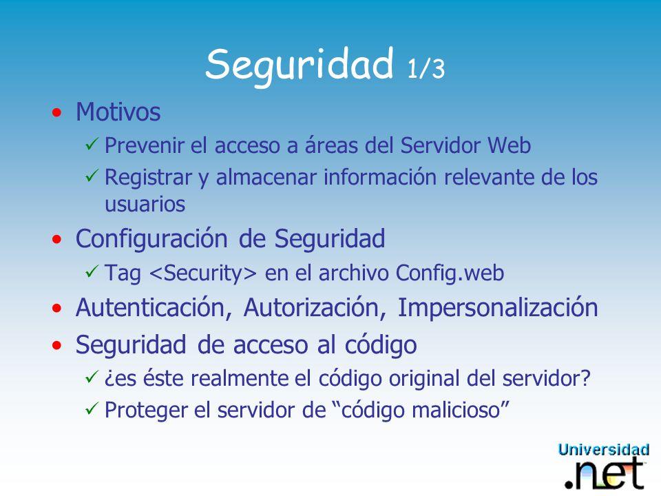 Seguridad 1/3 Motivos Prevenir el acceso a áreas del Servidor Web Registrar y almacenar información relevante de los usuarios Configuración de Segurid