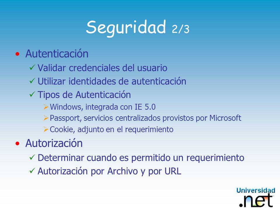 Seguridad 2/3 Autenticación Validar credenciales del usuario Utilizar identidades de autenticación Tipos de Autenticación Windows, integrada con IE 5.