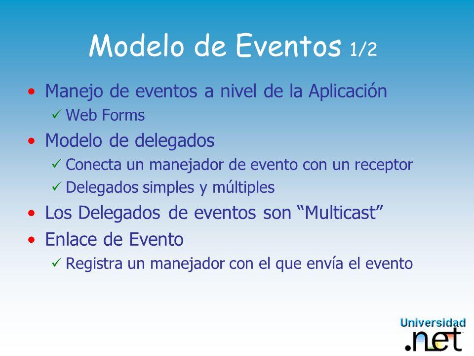 Modelo de Eventos 1/2 Manejo de eventos a nivel de la Aplicación Web Forms Modelo de delegados Conecta un manejador de evento con un receptor Delegado