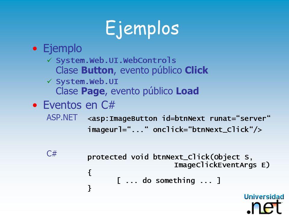 Ejemplos Ejemplo System.Web.UI.WebControls Clase Button, evento público Click System.Web.UI Clase Page, evento público Load Eventos en C# ASP.NET C# <