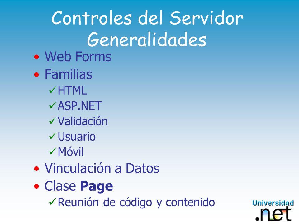 Controles del Servidor Generalidades Web Forms Familias HTML ASP.NET Validación Usuario Móvil Vinculación a Datos Clase Page Reunión de código y conte
