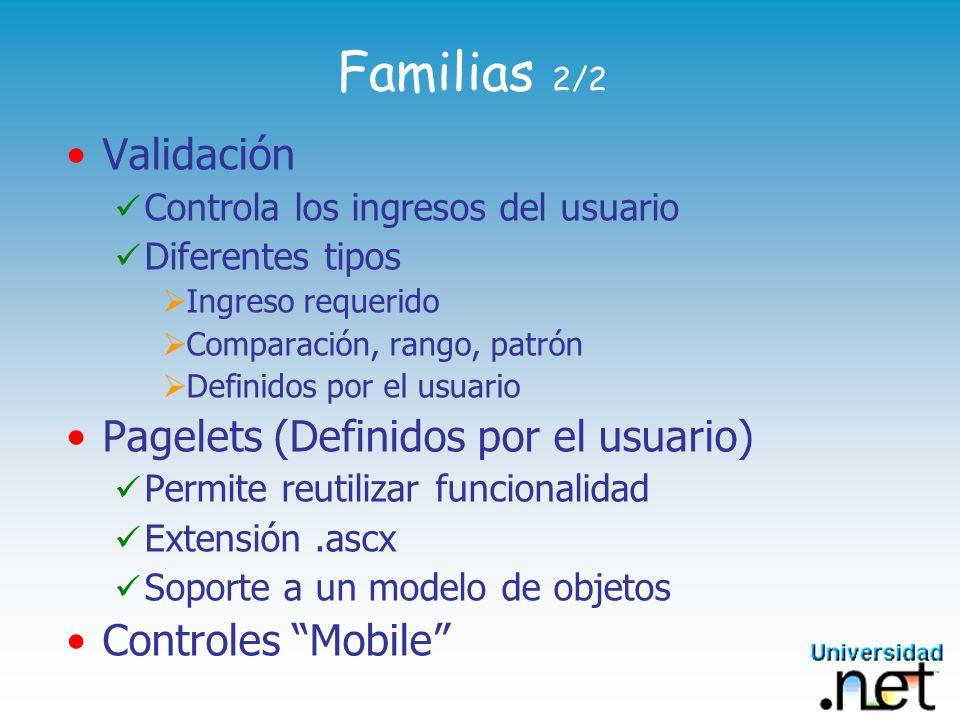 Familias 2/2 Validación Controla los ingresos del usuario Diferentes tipos Ingreso requerido Comparación, rango, patrón Definidos por el usuario Pagel