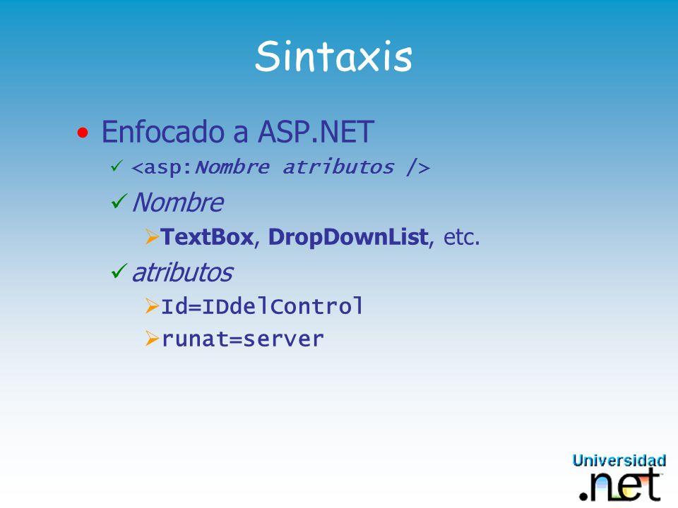 Sintaxis Enfocado a ASP.NET Nombre TextBox, DropDownList, etc. atributos Id=IDdelControl runat=server