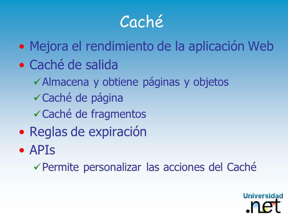 Caché Mejora el rendimiento de la aplicación Web Caché de salida Almacena y obtiene páginas y objetos Caché de página Caché de fragmentos Reglas de ex