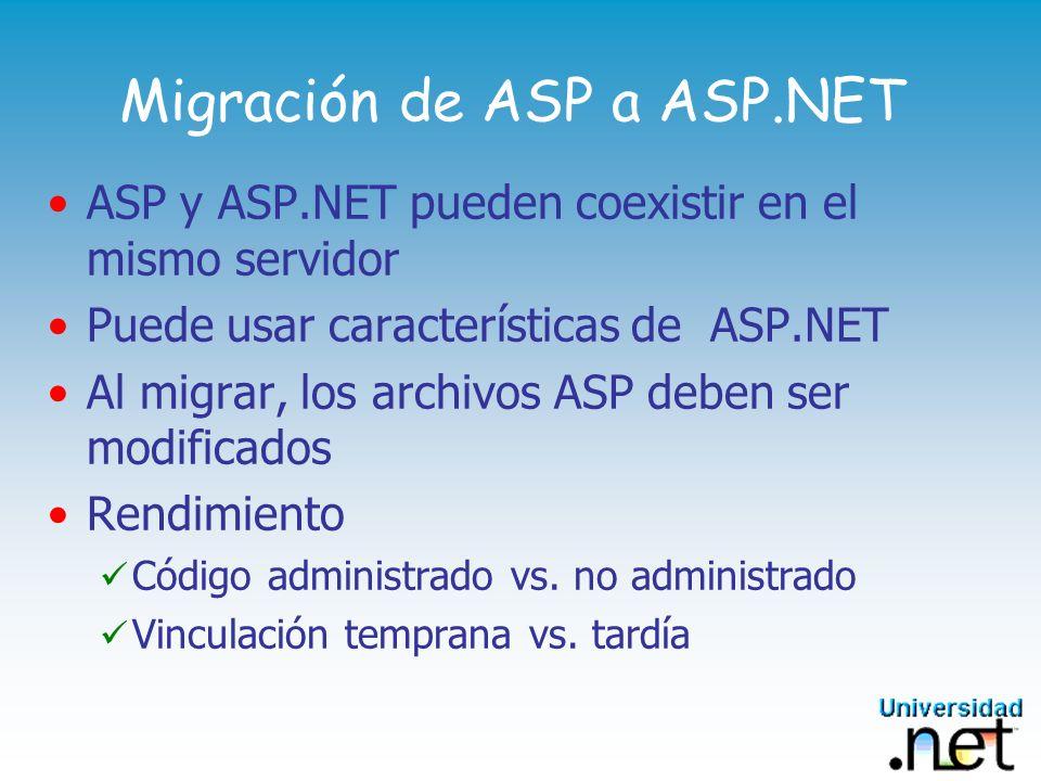 Migración de ASP a ASP.NET ASP y ASP.NET pueden coexistir en el mismo servidor Puede usar características de ASP.NET Al migrar, los archivos ASP deben