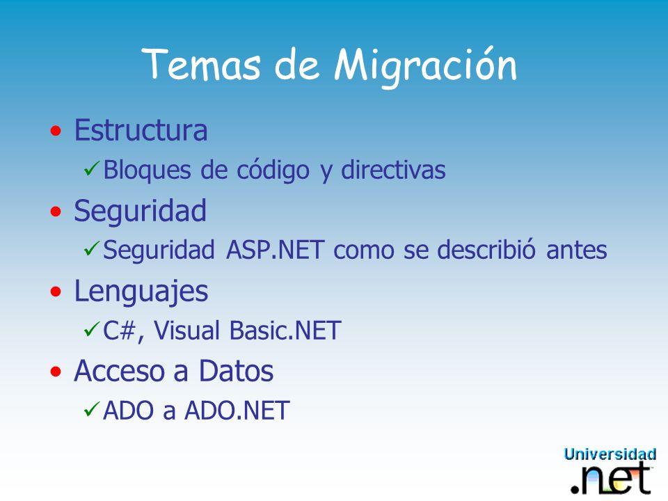 Temas de Migración Estructura Bloques de código y directivas Seguridad Seguridad ASP.NET como se describió antes Lenguajes C#, Visual Basic.NET Acceso