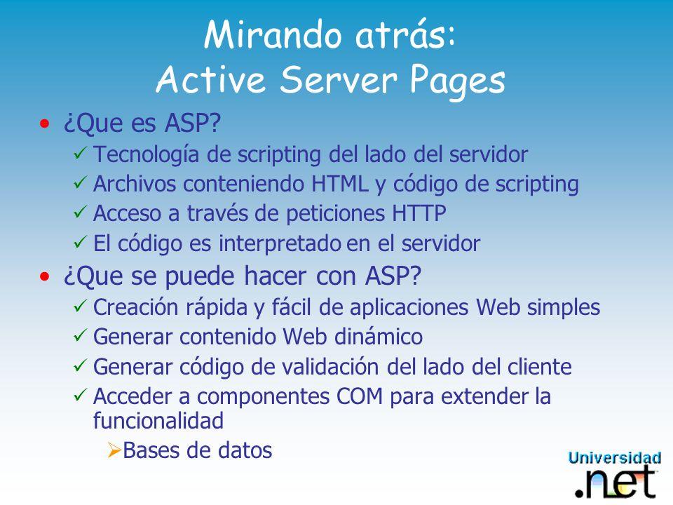 Mirando atrás: Active Server Pages ¿Que es ASP? Tecnología de scripting del lado del servidor Archivos conteniendo HTML y código de scripting Acceso a