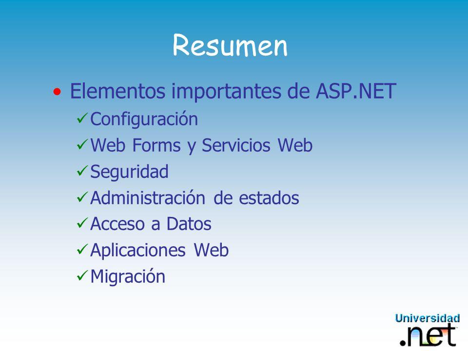 Resumen Elementos importantes de ASP.NET Configuración Web Forms y Servicios Web Seguridad Administración de estados Acceso a Datos Aplicaciones Web M