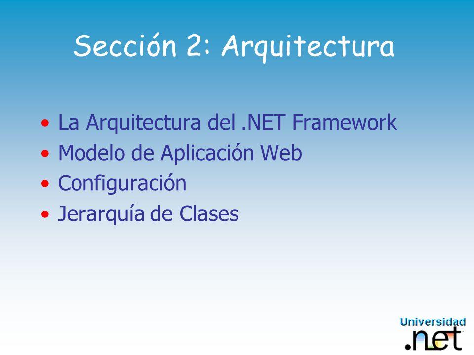 Sección 2: Arquitectura La Arquitectura del.NET Framework Modelo de Aplicación Web Configuración Jerarquía de Clases
