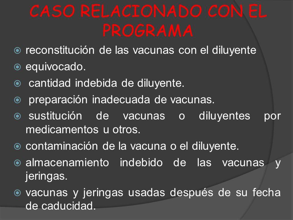 CASO RELACIONADO CON EL PROGRAMA reconstitución de las vacunas con el diluyente equivocado. cantidad indebida de diluyente. preparación inadecuada de