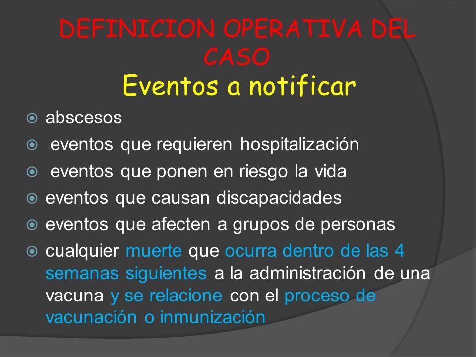 DEFINICION OPERATIVA DEL CASO Eventos a notificar abscesos eventos que requieren hospitalización eventos que ponen en riesgo la vida eventos que causa