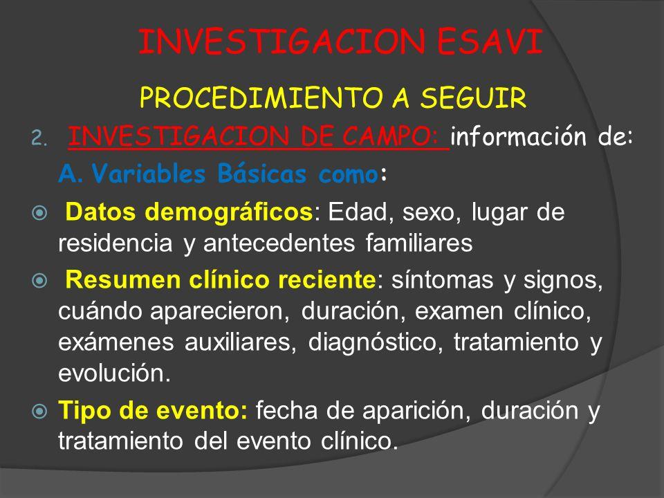 INVESTIGACION ESAVI PROCEDIMIENTO A SEGUIR 2. INVESTIGACION DE CAMPO: información de: A. Variables Básicas como: Datos demográficos: Edad, sexo, lugar