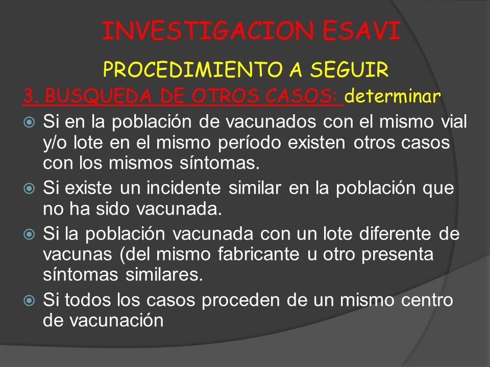 INVESTIGACION ESAVI PROCEDIMIENTO A SEGUIR 3. BUSQUEDA DE OTROS CASOS: determinar Si en la población de vacunados con el mismo vial y/o lote en el mis