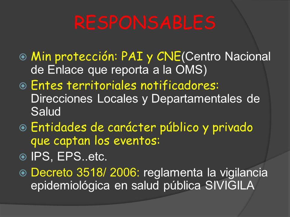 RESPONSABLES Min protección: PAI y CNE (Centro Nacional de Enlace que reporta a la OMS) Entes territoriales notificadores: Direcciones Locales y Depar