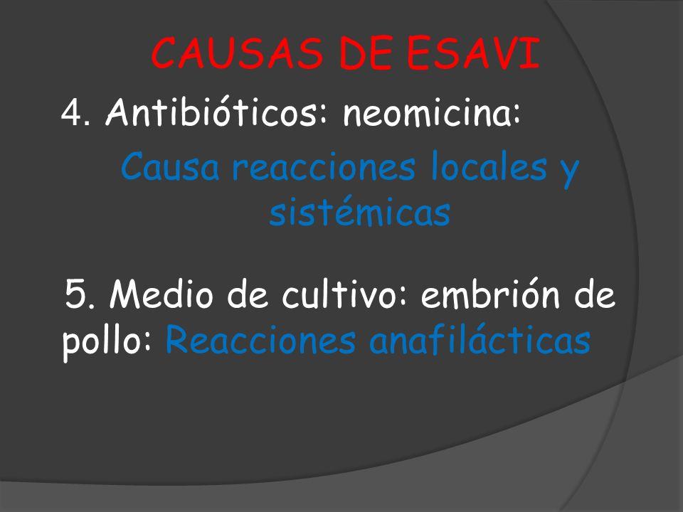 CAUSAS DE ESAVI 4. Antibióticos: neomicina: Causa reacciones locales y sistémicas 5. Medio de cultivo: embrión de pollo: Reacciones anafilácticas