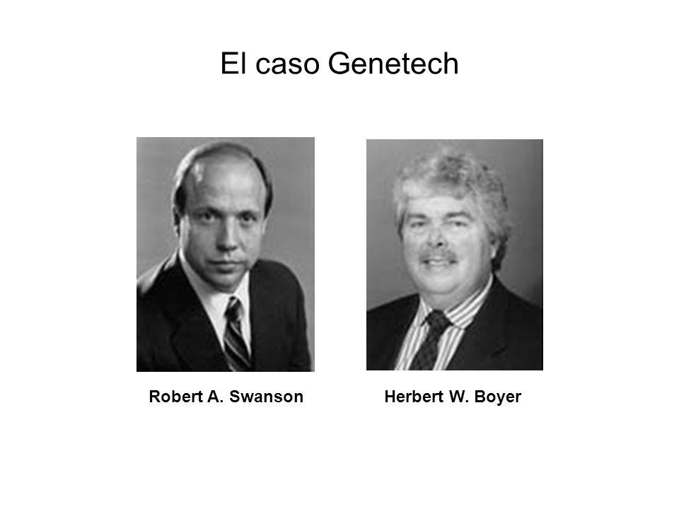 Antecedentes del caso Genetech En 1972, Boyer, quien identificó las enzimas de restricción, y Stanley Cohen, que había encontrado métodos para implantar material genético en bacterias (plásmidos), se reúnen en Hawai En 1973 ambos ingresaron un gen de un sapo en una bacteria Lograron utilizar una bacteria como fábrica de un gen foráneo Neil Reimers de Stanford, experto en patentes, los convenció de registrar la publicación Ambos científicos cedieron regalías y derechos del primer registro a a sus Universidades