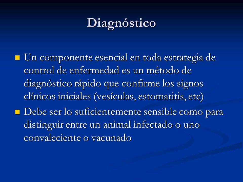 Diagnóstico Un componente esencial en toda estrategia de control de enfermedad es un método de diagnóstico rápido que confirme los signos clínicos ini