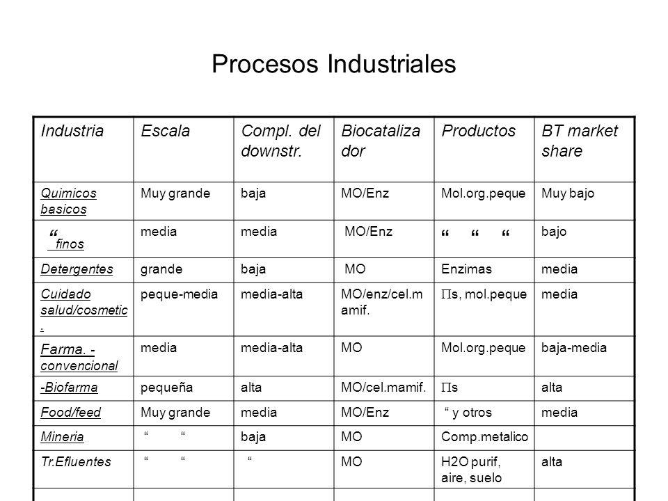 Procesos Industriales IndustriaEscalaCompl. del downstr. Biocataliza dor ProductosBT market share Quimicos basicos Muy grandebajaMO/EnzMol.org.pequeMu