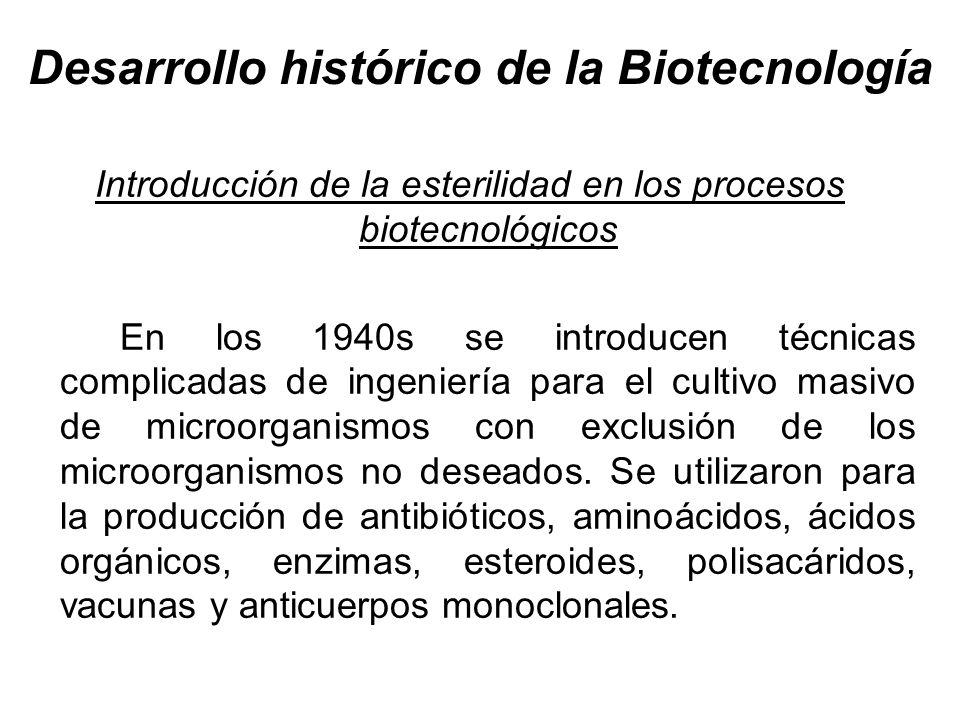 Desarrollo histórico de la Biotecnología Introducción de la esterilidad en los procesos biotecnológicos En los 1940s se introducen técnicas complicada
