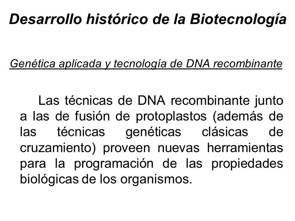 Desarrollo histórico de la Biotecnología Genética aplicada y tecnología de DNA recombinante Las técnicas de DNA recombinante junto a las de fusión de
