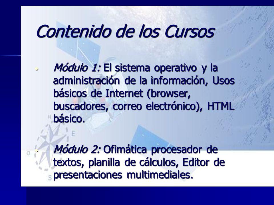 Contenido de los Cursos Módulo 1: El sistema operativo y la administración de la información, Usos básicos de Internet (browser, buscadores, correo el