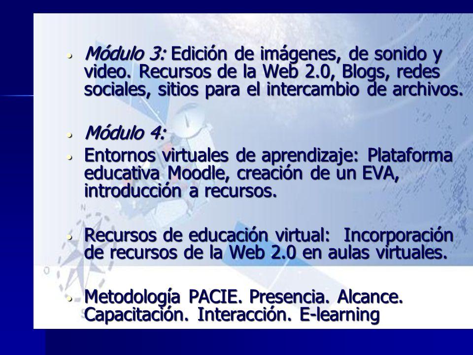 Módulo 3: Edición de imágenes, de sonido y video. Recursos de la Web 2.0, Blogs, redes sociales, sitios para el intercambio de archivos. Módulo 3: Edi
