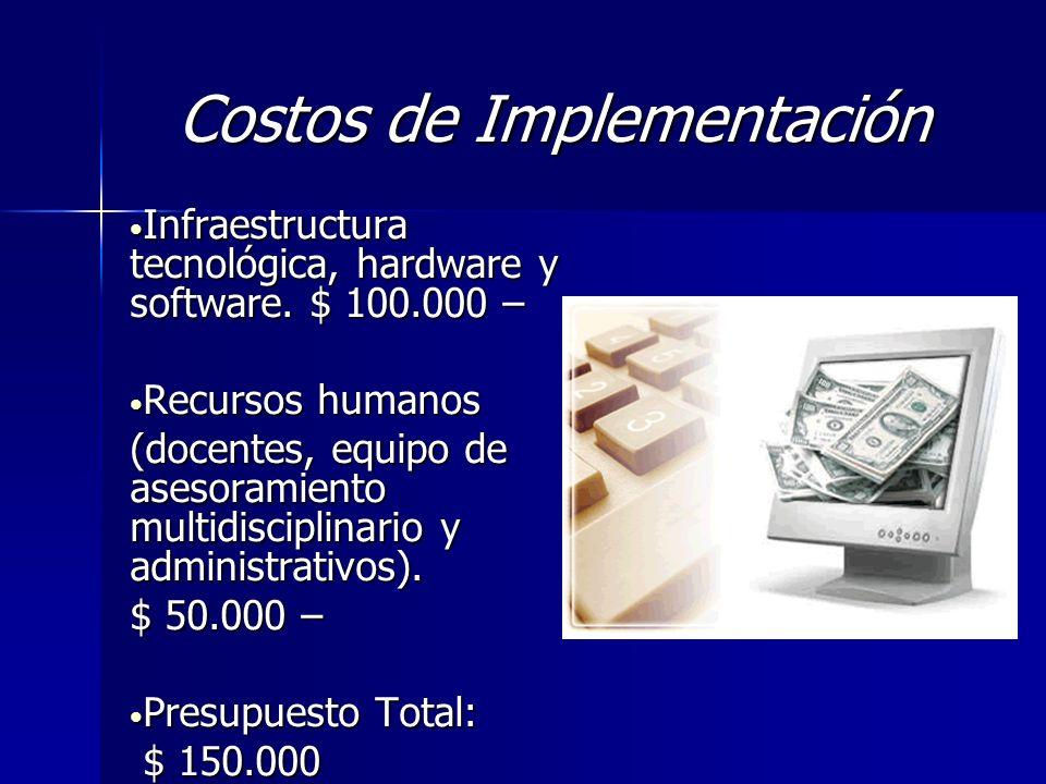 Costos de Implementación Infraestructura tecnológica, hardware y software. $ 100.000 – Infraestructura tecnológica, hardware y software. $ 100.000 – R